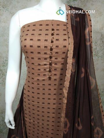 Elephant Printed Choco Brown Slub Cotton unstitched Salwar material with potli buttons on yoke, brown cotton bottom, printed brownchiffon dupatta with tapings