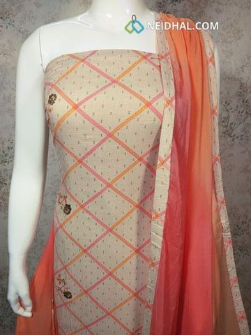 Cream Rayon unstitched Salwar material with Golden Prints, Pink cotton bottom, Dual color chiffon dupatta with tapings