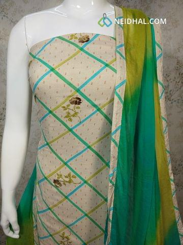 Cream Rayon unstitched Salwar material with Golden Prints, Turquoise Blue cotton bottom, Dual color chiffon dupatta with tapings