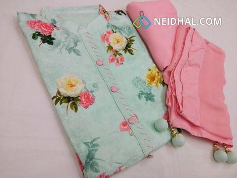 Designer Light Blue Pashmina linen unstitched Salwar material with Neck patten, Plain Back Side, Drum Dyed pink cotton bottom, Pink Chiffon  dupatta with fancy tassels.