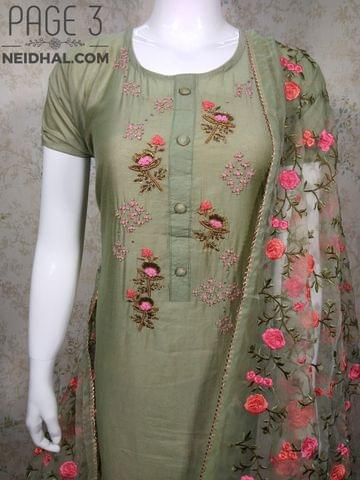 PAGE 3: Designer Chanderi unstitched Salwar material(requires lining) with Thread, Zari, Sequins and French knot work on yoke, Peach cotton bottom, heavy embroidery work on super net dupatta with zari taping