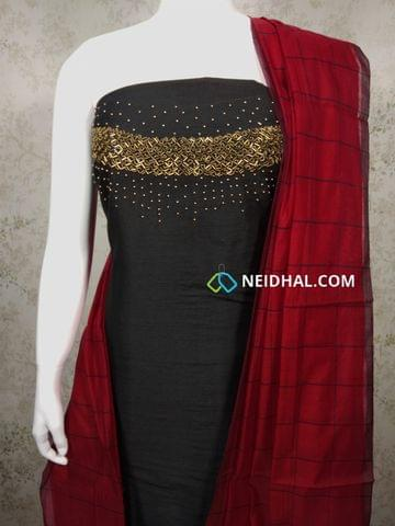 Designer Black Dupion Silk unstitched salwar material withBead and pipe work on yoke, red Cotton bottom, red Checked silk cotton dupatta with tassels.
