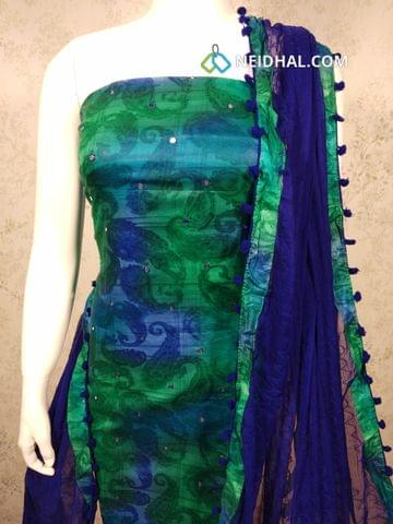 Digital Printed Premium Satin Cotton unstitched Salwar material with foil mirror work on front side, blue cotton bottom, embroidery work on blue chiffon dupatta with pom pom taping.