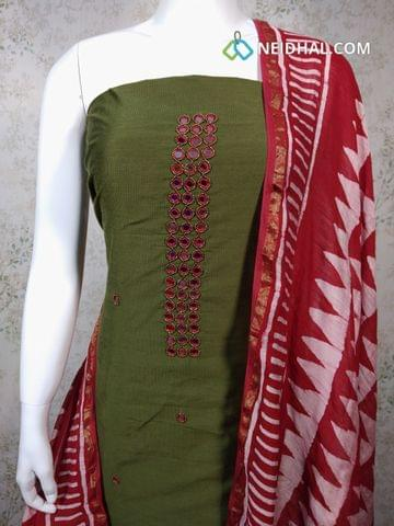 Premium Dark Mossy Green Dupion silk Unstitched salwar material with real mirror, bead work on yoke, batik printed red cotton bottom, Batik Printed red cotton dupatta with tassels..