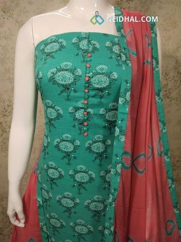 Printed Turquoise Blue Slub Cotton unstitched Salwar material with potli buttons on yoke, pink cotton bottom, printed chiffon dupatta with tapngs.