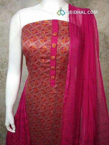 Printed Pink Satin Cotton unstitched Salwar material with patola work, pink cotton bottom, printed chiffon dupatta with tapings.