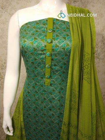 Printed Green Satin Cotton unstitched Salwar material with patola work, green cotton bottom, printed green chiffon dupatta with tapings.