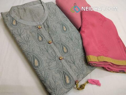 Designer Grey Silk Cotton unstitched Salwar material with heavy thread and zari embroidery work on front side, plain back side, pink cotton bottom, golden printed pink chiffon dupatta with tapings