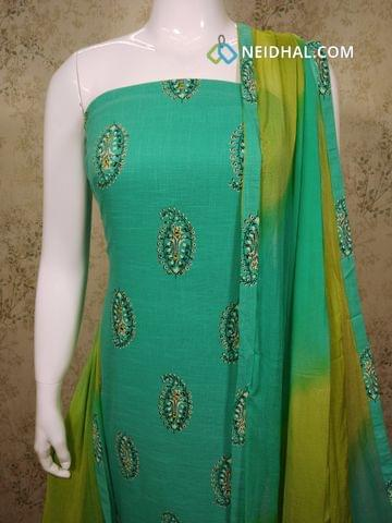 Printed Turquoise Blue Slub Cotton unstitched salwar material with sequence work on front side, green cotton bottom, dual color chiffon dupatta with tapping