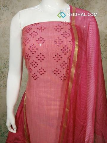 Pink Silk Cotton unstitched salwar material with foil mirror work on yoke, pink cotton bottom,pink silk cottot dupatta with tassels