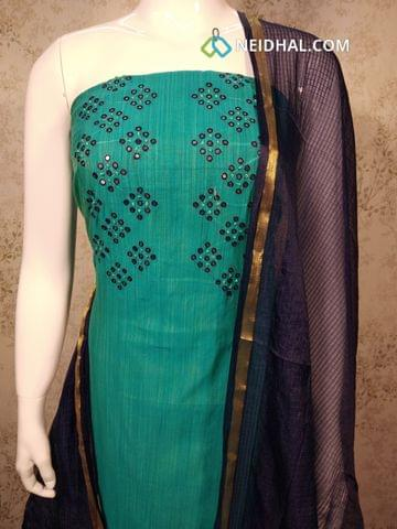 Blue Silk Cotton unstitched salwar material with foil mirror work on yoke, navy blue cotton bottom, navy blue silk cottot dupatta with tassels