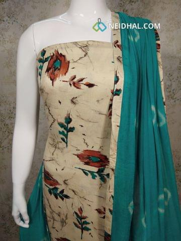 Printed Light Beige Satin Cotton unstitched salwar material , blue cotton bottom, printed chiffon dupatta with taping