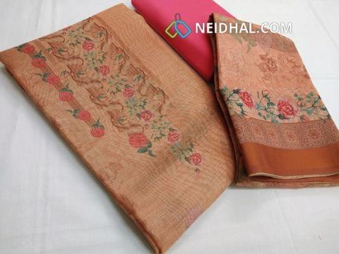 Premium Digital Printed Orange Silk Cotton unstitched salwar material , pink cotton bottom, Digital printed silk cotton dupatta(requires taping)