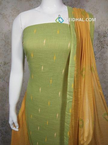 Printed Green Slub cotton unstitched salwar material, fenu greek yellow cotton bottom, fenu greek yellow chiffon dupatta with taping