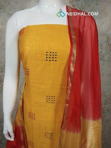 Yellow Silk Cotton unstitched salwar material (requires lining) with french knot, foil mirrror work on front side, red cotton bottom, Dual color fancy silk dupatta(requires taping)