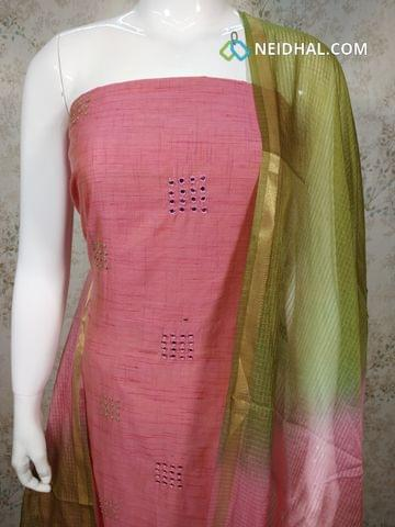 Pink Silk Cotton unstitched salwar material (requires lining) with french knot, foil mirrror work on front side, green cotton bottom, Dual color fancy silk dupatta(requires taping)
