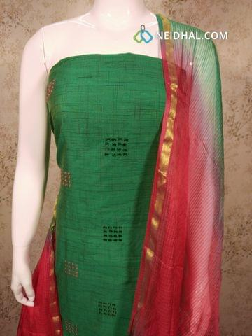 Green Silk Cotton unstitched salwar material (requires lining) with french knot, foil mirrror work on front side, pink cotton bottom, Dual color fancy silk dupatta(requires taping)