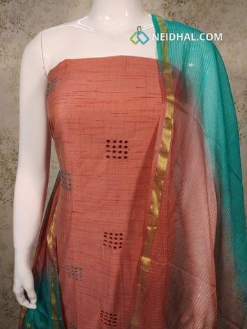 Peach Silk Cotton unstitched salwar material (requires lining) with french knot, foil mirrror work on front side, Turquoise blue cotton bottom, Dual color fancy silk dupatta(requires taping)