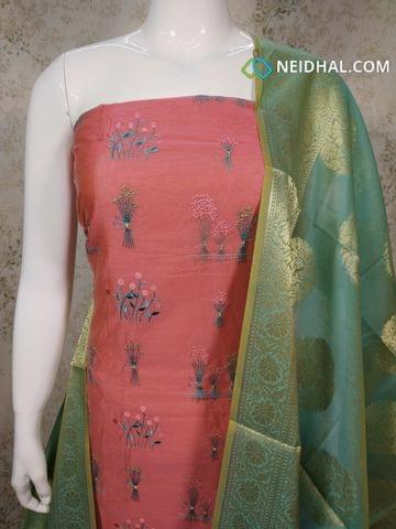 Designer Pink Silk Cotton unstitched salwar material with embroidery work on front side, plain back side, Turquoise blue silk cotton bottom, Benaras weaving silk cotton dupatta with tassels.