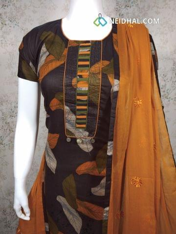 Designer Printed Black soft silk unstitched salwar material with neck pattern, Fenu greek yellow cotton bottom,Embroidery work fenu greek yellow chiffon dupatta with tapings.