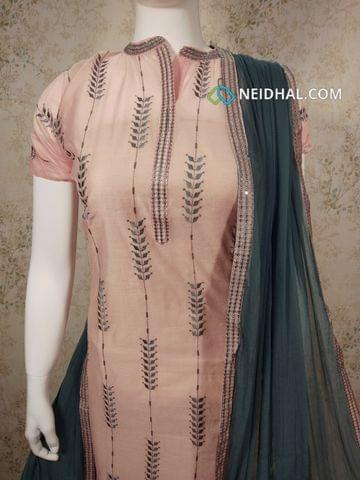Designer Peach Silk Cotton unstitched Salwar material(requires lining) with neck patten,  thread and sequence work on front side, plain back side,  grey cotton bottom, grey chiffon dupatta with tapings,