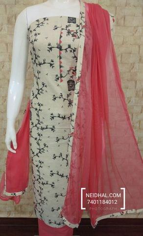 Printed Half white slub cotton unstitched Salwar material with neck patten, Peach cotton bottom, Peach nazneen dupatta with tappings,
