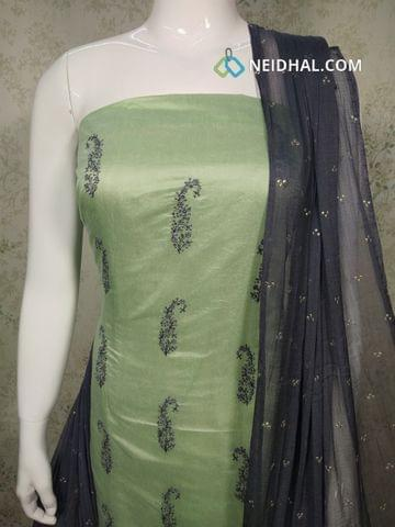 Pista Green Silk Cotton unstitched Salwar material(requires lining) with thread and sequence work on front side, plain back side, grey cotton bottom, golden dew drops on Chiffon dupatta with taping
