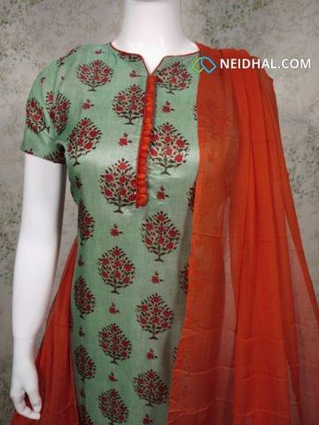 Premium Floral printed Green Semi Tussar Unstitched salwar material(requires lining) with neck patten, potli buttons on yoke, orange silk cotton bottom, orange chiffon dupatta with tapings.