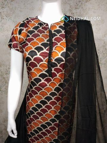 Premium Floral printed Multicolor Semi Tussar Unstitched salwar material(requires lining) with neck patten, potli buttons on yoke, black silk cotton bottom, black chiffon dupatta with tapings.