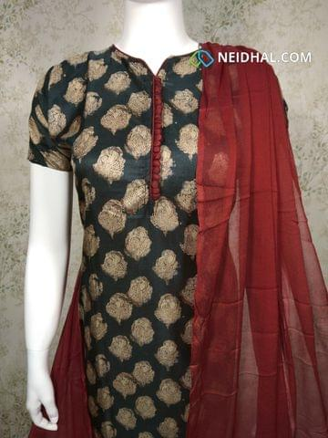Premium Floral printed Black Semi Tussar Unstitched salwar material(requires lining) with neck patten, potli buttons on yoke, maroon silk cotton bottom, maroon chiffon dupatta with tapings.