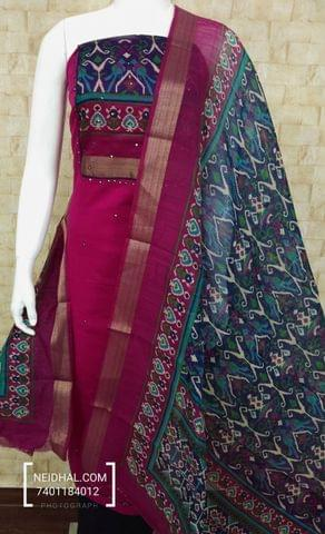 Pink Slub Cotton unstitched salwar material with digital print on yoke, blue cotton bottom, digital printed silk cotton dupatta with zari border.(tapping requires)