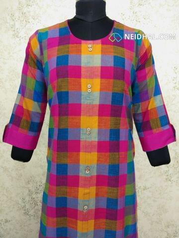 Multicolor Checked cotton kurti with front closed placket  (Refer Size chart, 3rd pic before ordering, No Refund, No Return, No exchange, No cancellation), Round neck, Height 45, 3/4 slevees with flaps