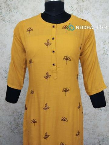 Yellow modal Kurti with embroidery work(all buttons can be unbuttoned)(Refer Size chart, 3rd pic before ordering, No Refund, No Return, No exchange, No cancellation), Round Neck, Height - 47, 3/4 Sleeves, front and side slits.