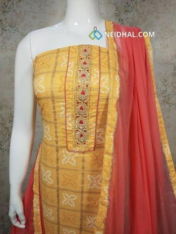 Printed Yellow Cotton unstitched salwar material(requires lining) with bead, thread, foil mirror work, pink cotton bottom ,pink chiffon dupatta with tapings
