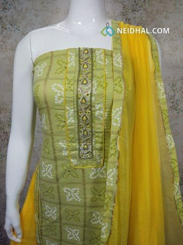 Printed Green Cotton unstitched salwar material(requires lining) with bead, thread, foil mirror work, yellow cotton bottom , yellow chiffon dupatta with tapings