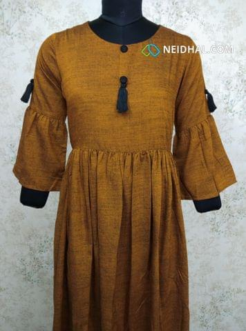 Yellow Modal gathered waistline flared Kurti, buttons and tassels on yoke (Refer Size chart, 3rd pic before ordering, No Refund, No Return, No exchange, No cancellation), Round Neck, Height 44, 3/4 Bell sleeves.