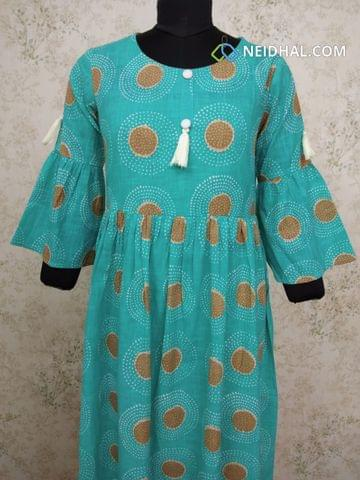 Printed Blue Slub Cotton gathered waistline flared Kurti (Refer Size chart, 3rd pic before ordering, No Refund, No Return, No exchange, No cancellation), Round Neck, Height 44, 3/4 Bell sleeves.