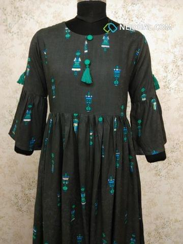 Doll Printed Grey Modal gathered waistline flared Kurti with buttons and tassels on yoke(Refer Size chart, 3rd pic before ordering, No Refund, No Return, No exchange, No cancellation), Round Neck, Height 45, 3/4 Bell sleeves.