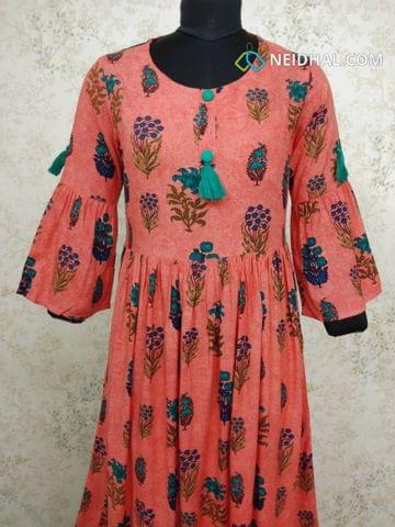 Floral Printed Dark peach  Modal gathered waistline flared Kurti with buttons and tassels on yoke(Refer Size chart, 3rd pic before ordering, No Refund, No Return, No exchange, No cancellation), Round Neck, Height 45, 3/4 Bell sleeves.