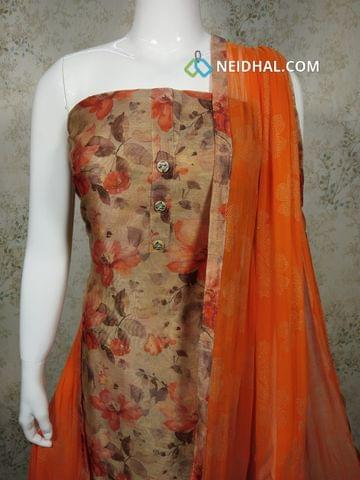 Premium Digital Printed Beige Silk Cotton Unstitched(requires lining) salwar material with buttons on yoke, orange cotton bottom, orange chiffon dupatta with tapings.