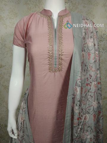 Designer Dark Onion Pink Masleen unstitched Salwar material(requires lining) with Zari thread and sequence work on yoke, plain back side, dark onion pink cotton bottom, digital printed masleen silk dupatta with tapings.