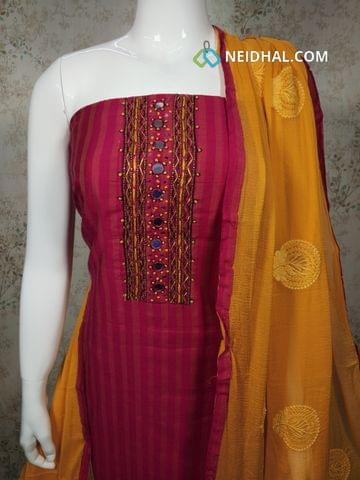 Pink Silk Cotton unstitched Salwar material withfoil mirror, french knot, bead work on yoke, plain back side, yellow cotton bottom, embroidery work on yellow chiffon dupatta with tapings.