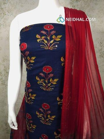 Printed Navy Slub Cotton unstitched Salwar material(requires lining) with zari thread and sequence work on front side, red cotton bottom, dual color chiffon dupatta with tapings