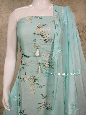 (PRE ORDER: CAN SHIP ON WEDNESDAY) Designer Blue Digital printed Modal Fabric unstitched Salwar material( thin fabric requires lining) with fancy bead buttons and tassels on yoke, Blue drum dyed cotton bottom, Blue chiffon dupatta with thread embroidery and sequins work and taping.(embroidery work in dupatta might vary))