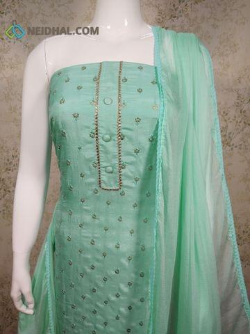 Premium Turquoise Blue Soft Silk Cotton unstitched Salwar material(requires lining) with thread and sequence work on front side, plain back side, drum dyed cotton bottom, Turquoise blue chiffon dupatta with lace tapings
