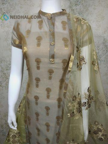 PAGE 3: Designer Grey Silk Cotton unstitched Salwar material(Thin Fabric requires lining) with zari thread weaving, neck patten, drum dyed cotton bottom, Heavy Embroidery work on Organza Dupatta with tapings