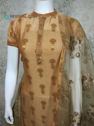 PAGE 3: Designer Silk Cotton unstitched Salwar material(Thin Fabric requires lining) with zari thread weaving, neck patten, drum dyed cotton bottom, Heavy Embroidery work on Organza Dupatta with tapings