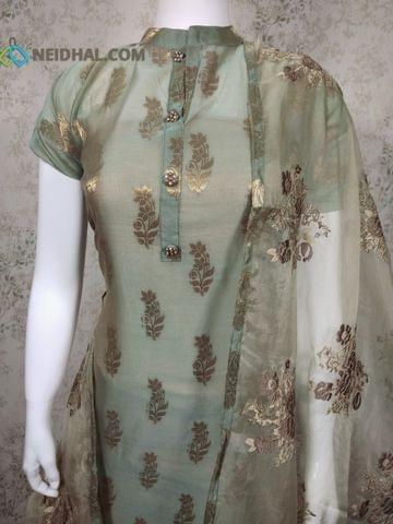 PAGE 3: Designer Green Silk Cotton unstitched Salwar material(Thin Fabric requires lining) with zari thread weaving, neck patten, drum dyed cotton bottom, Heavy Embroidery work on Organza Dupatta with tapings