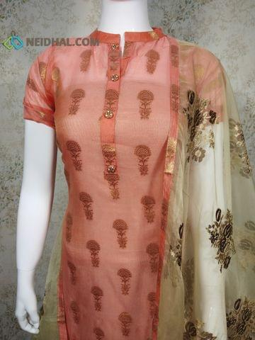 PAGE 3: Designer Dark Peach Silk Cotton unstitched Salwar material(Thin Fabric requires lining) with zari thread weaving, neck patten, drum dyed cotton bottom, Heavy Embroidery work on Organza Dupatta with tapings