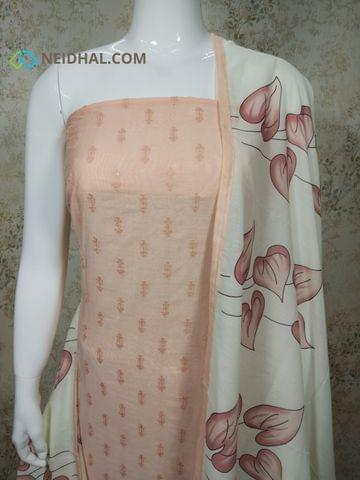 Designer Light Peach Silk Cotton  unstitched Salwar material(requires lining) with thread and sequence work on front side, plain back side, drum dyed cotton bottom, Digital printed Fancy silk dupatta with tapings